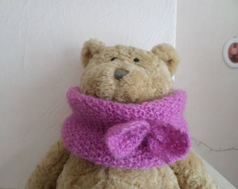knit with a Pink Purple wool snood