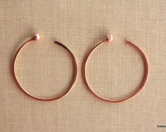 Hoop Earrings , Copper Hoop Earrings , One Inch , 1 Inch Hoops
