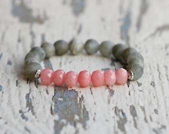 beads bracelet women gifts for mother pink bracelet labradorite stretch bracelet woman wife gift idea for her jewellery for her girlfriend