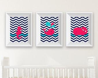 Pink and Navy Nursery Art / Whales / Seahorse / Under the Sea / Nursery Art Bundle / 8x10 / Pink / Aqua / Navy / Whale / DIGITAL / Printable