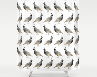 Watercolor Quail Shower Curtain - quail watercolor painting on white shower curtain