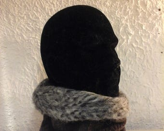 Snood collar gashes reversible mixed Brown and gray