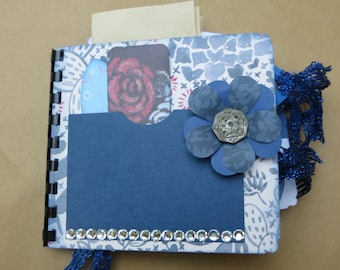 Blue Paper Bag Handmade Small Junk Journal Notebook Smash book Scrapbook Unique Gift for Her Handcrafted Cottage Chic