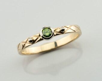 Green Diamond stack ring, Diamond engagement ring, Green diamond ring, bezel diamond ring, engagement diamond ring, Chartreuse green diamond