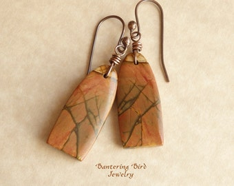 Jasper Stone Earrings, Rust Brown Natural Stone Slice, Arched Picasso Jasper, Handmade Artisan Copper Jewelry