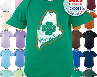 Maine Home State Irish Shamrock Bodysuit - Boys / Girls / Irish / St. Patty's Day