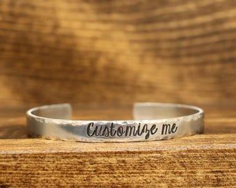 Personalized Cuff Bracelet, Custom Name, Custom Phrase, Aluminum Cuff, Custom Cuff, Hand Stamped Cuff, Personalized Cuff