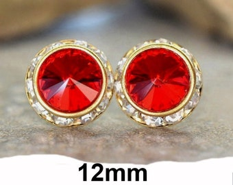 12mm Light Siam & Gold Surrounds Rhinestone Stud Earrings, Bright Red Crystal Studs, Bright Red and Gold Earrings