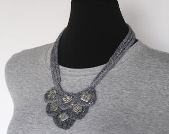 Silver Heart Light Gray Color Fiber Crochet Statement Bib Style Necklace with Metal Charms Pendants