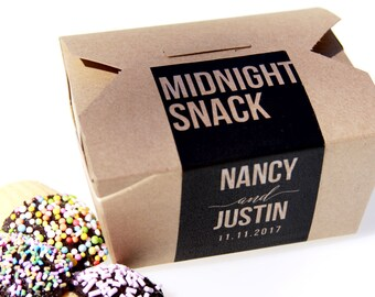 Midnight Snack Box, Cake Box, Cookie Box, Doughnut Box, Cake Favor Box, Favor Box, To Go Box, Dessert Favor, Dessert Sign, Favor Label
