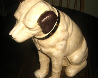 """Large 9 3/4"""" Tall Cast Iron RCA Victor Phonograph Nipper Dog Vintage Coin Bank"""