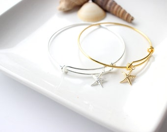 starfish bracelet, starfish jewelry, beach wedding, ocean jewelry, bridesmaid gift, bridesmaid jewelry, bridal accessories, bridal jewelry
