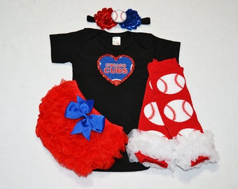 chicago cubs baby girl outfit - baby girl cubs outfit - girls cubs baseball outfit - chicago cubs baby girl gift - chicago cubs baseball