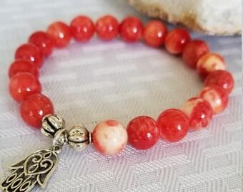 Red Jasper White Lace Bracelet,Mala Bracelet,Good Vibes,Gift For Her,Healing Crystals,Yoga Bracelet,Empowerment,Feminine Energy