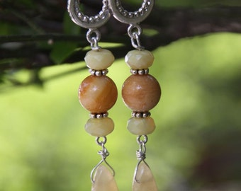 Earrings Yellow Jade, Serpentine, Golden Jade - Sterling Silver -  Dangles  LIMONE LIMONE -