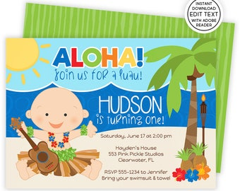 Luau Invitation, 1st Birthday Invitation, Luau Baby Birthday,Luau 1st Birthday,Hawaiian Invitations,Luau Birthday Invitation,Luau Party |553