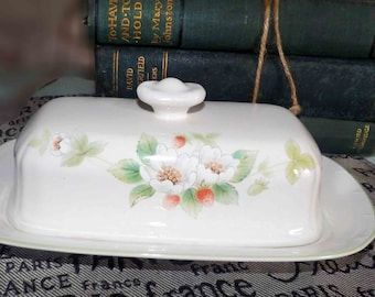 Vintage (c. early 1980s) Mikasa Berry Bloom DB007 covered butter dish.  Made in Japan.  Dinner at Eight line.  Hard to find!