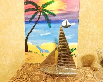 Vintage metal sailing boat beach house decor office decor sailing ship with mast classic ship vacation feelings by looking at it sailor gift