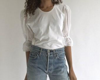 Vintage White Cotton Puffy Sleeve Shirt | Knit Folk Blouse Shirt | Puffy Puff Pouf Sleeves | Birkin Bardot Provence Romantic