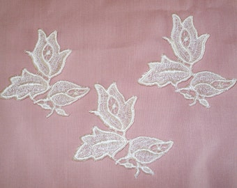 Venice Lace Embroidery Appliques In Off White  Color