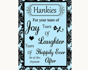 Sky Blue Damask Hankies And Tissues Personalised Wedding Sign