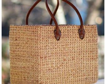 Handwoven straw basket bag, straw handbag, seagrass basket, faux crocodile handles (Croc basket-Medium)