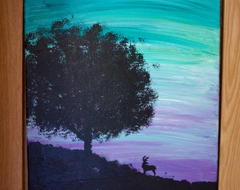 Sunset Silhouette- original painting tree and deer silhouette