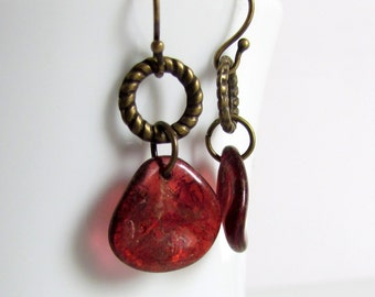 Merlot Glass Rose Petal Earrings, Czech Glass Rose Petals, Wine Red Dangle Earrings, Antiqued Brass, Simple Everyday Wear, Small Red Earring