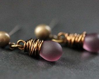 BRONZE Earrings - Clouded Purple Teardrop Earrings. Dangle Earrings. Post Earrings. Handmade Jewelry.