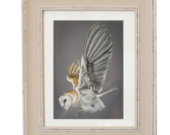 Barn Owl In Flight- Limited Edition Hare Signed Print