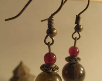 2107 -Earrings Green Garnet and Carnelian