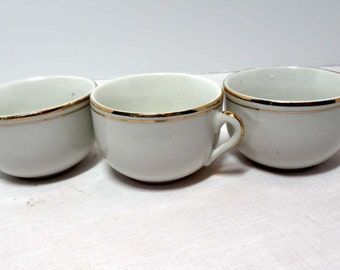 3 Tea Cups Germany White China with Gold Leaf Home and Garden Kitchen and Dining Tableware Drinkware Coffee and Tea Cups