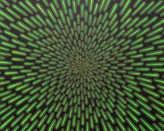 Contemporary painting : Green particle.
