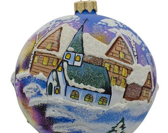 "4"" Winter Village Church Ukrainian Glass Ball Christmas Ornament"