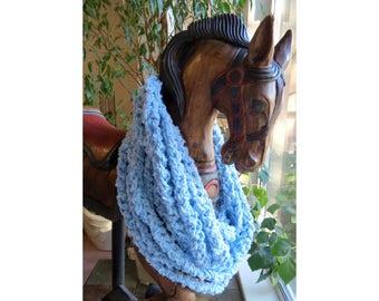Blue Scarf, Crocheted Infinity Scarf, Chunky Crochet, Yarn Necklet, Cowl, Arm Knit Scraf