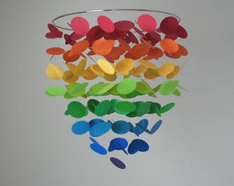 Rainbow Ombre Circle Dot Mobile (Large) // Nursery Mobile