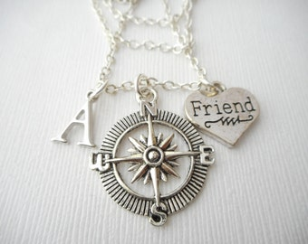 Friend, Compass- Initial Necklace/ Gift for best friend, Birthday Gift, Bff gift, bff jewelry, Gift for bff, friends initials
