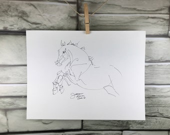 "Horse art original ""Whimsical Jumping Horse"" pen & ink sketch drawing"