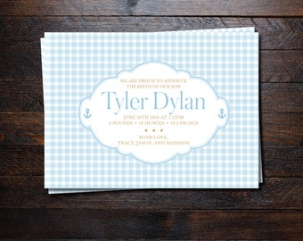 Elegant Baby Boy gingham Birth announcements/ Letterpress birth announcements/ Birth announcement with no photo