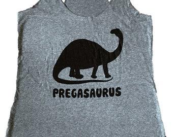 Pregasaurus Dinosaur Tank Top - Pregnant Sleeveless Shirt - (Ladies Sizes S, M, L,)