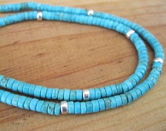 Turquoise and Sterling Silver Heishi Necklace, Native American Necklace, Womens Turquoise Necklace, Mens Turquoise Necklace, Tribal Necklace