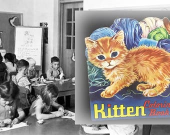 Adorable Vintage Kitten Coloring Book, Never Used, As Found, Copyright 1951