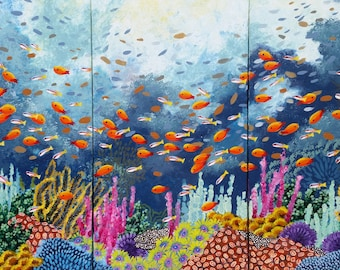 THAT'S A MORAY: Triptych, 15 x 30 each panel, original, acrylic, painting, art, ocean, coral reef, fish, beach, water, wildlife, colorful