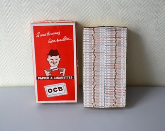 Vintage box of 100 rolling papers book OCB number 2 corded Non gummed / cigarettes and tobacco / made in France