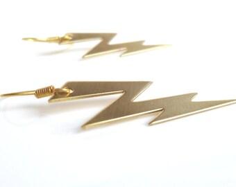 Gold Lightning Earring - SHAZAM - raw brass lightning bolt weather dangle - simple ear hooks - Jagged High Voltage Storm - Constant Baubling