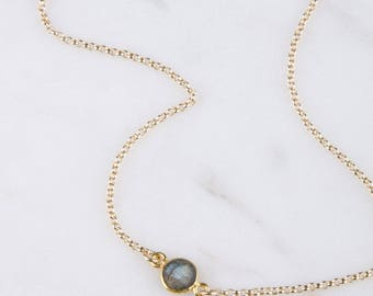 Gemstone Layered Gold Necklace, Gemstone Bezel Connector Necklace, Bridesmaid Gemstone Necklace, Dainty Bracelet Gold, Labradorite Necklace