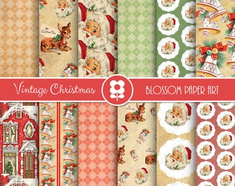 Christmas Digital Paper, Vintage Christmas Digital Paper Pack, Christmas Scrapbooking - INSTANT DOWNLOAD  - 2001