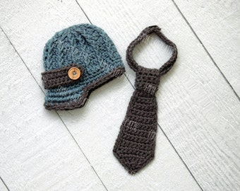 Baby newsboy hat set, baby newsboy cap, newsboy outfit, crochet necktie, newborn boy hat, newborn boy photo prop, baby boy clothes, blue
