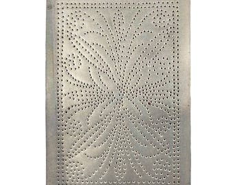 Vintage Punched Tin Metal Panel with Abstract Butterfly 10x14, Great Country Rustic Decor For Pie Safe, Hoosier Cabinet, Jelly Cupboard