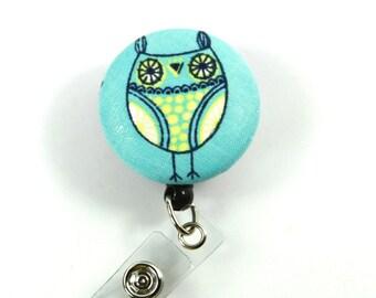 OWL Fabric Badge Reel, Retractable badge Holder, Owl Button Reel, Owl Badge Holder